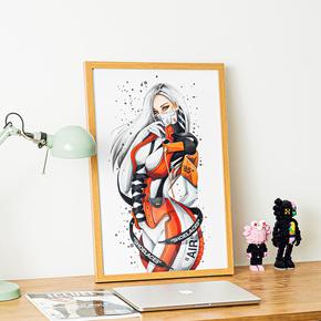 GZKHCOM sneakerhead创意aj1ow性感球鞋女孩挂画潮牌潮流装饰画网红壁画