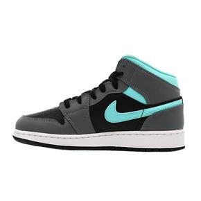 Nike Air Jordan 1 Mid AJI 中帮 灰蓝绿钩 女子篮球鞋 554725-063