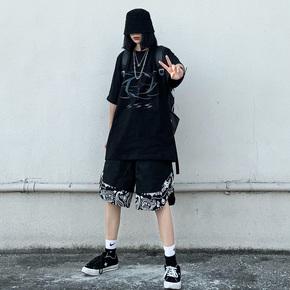 BTW夏嘻哈街头潮牌休闲篮球裤男hiphop宽松假两件腰果花拼接短裤 BK230