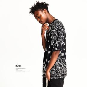 BTW夏季宽松短袖男嘻哈街头潮流半袖暗黑系个性腰果花满印花T恤  T69