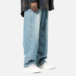 BTW街头潮牌春欧美嘻哈宽松休闲裤子男丹宁老爹工装牛仔宽腿长裤 BK18201F