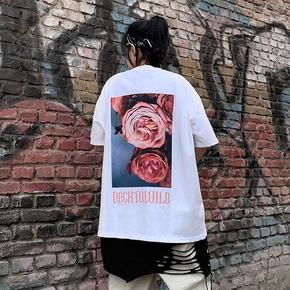 BTW夏原创个性街头t恤男女情侣百搭潮牌宽松嘻哈花卉玫瑰印花短袖 BT211