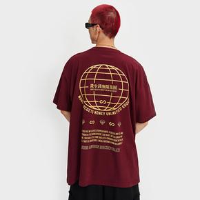 BTW夏季多色个性圆领钱生钱无限集团印花短袖潮流街头嘻哈宽松T恤 BT212