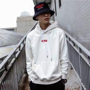 GZKHCOM 简约连帽加绒加厚宽松欧美街头运动休闲百搭卫衣