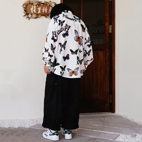 NOT TO EXCEED 秋季国潮牌新款蝴蝶印花厚实衬衣宽松长袖情侣衬衫