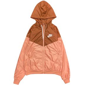 NIKE耐克女子梭织轻薄拼接跑步运动休闲连帽夹克外套 CN6911-606