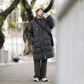 PSO Brand 白鸭绒羽绒服男中长款冬季加厚连帽外套潮