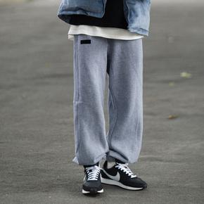 PSO Brand 灰色卫裤男潮牌束脚裤秋冬季运动休闲长裤
