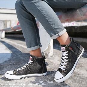 Levi's李维斯男鞋韩版牛仔帆布鞋男高帮布鞋学生板鞋春秋季潮鞋子