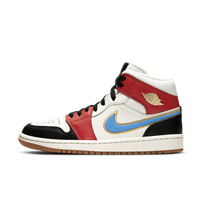 Air Jordan 1 Mid SE 黑红蓝 漆皮灯芯绒 女款篮球鞋 DC1426-100