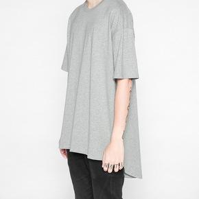 JOESPIRIT高街OVERSIZE宽松燕尾前短后长加长男打底纯色短袖T恤 1180