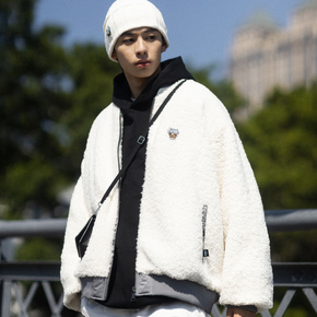 PSO Brand MA-1飞行员夹克男潮牌冬季加厚加绒羊羔毛绒外套情侣装