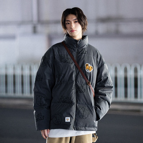 PSO Brand 满印小熊款白鸭绒羽绒服男短款冬季潮牌情侣装立领外套