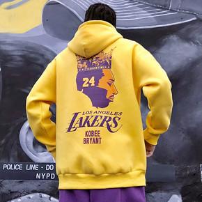 GZKHCOM 科比皇冠卫衣致敬曼巴精神印花连帽加绒潮流湖人24号篮球