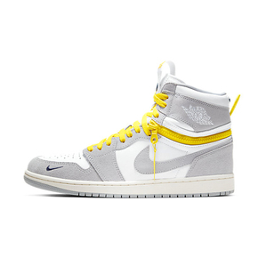 "Air Jordan 1 High Switch ""Light Smoke Grey"" 灰白黄 拉链高帮篮球鞋 CW6576-100"