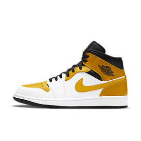 "Air Jordan 1 Mid ""University Gold"" 白黑黄 高帮篮球鞋 554724-170"
