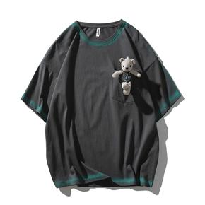 JOESPIRIT 2021春夏新款 小熊可拆卸 男士短袖T恤 圆领T恤 圆领套头短袖T恤 男士T恤 卡通情侣T恤 PHT002