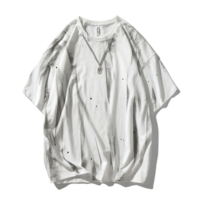 JOESPIRIT 2021春夏新款 装饰颈链 欧美风 男士短袖T恤 圆领T恤 圆领套头短袖T恤 男士T恤 情侣T恤 PHT008