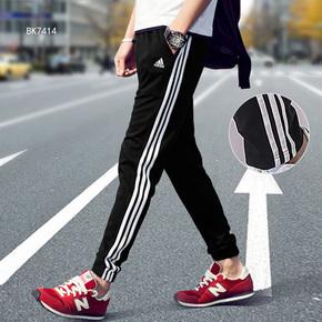 Adidas阿迪达斯男裤2018春季透气运动裤收口长裤针织直通裤 BK7414