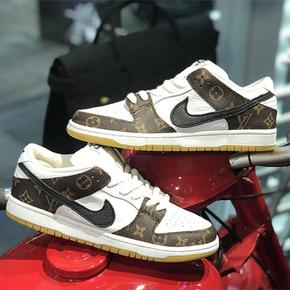 【球鞋定制】Nike Dunk系列 小麦底LV黑钩定制板鞋