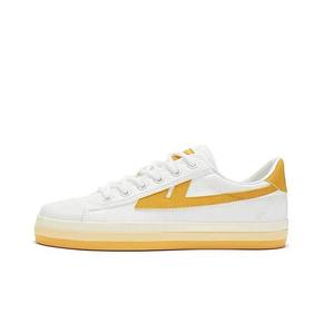 Warrior/回力 彩虹透气厚底增高板鞋 白黄色