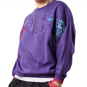 LINING/李宁 巴黎时装周 紫色宽松圆领卫衣