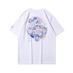LINING/李宁 ?;ㄏ薅?休闲圆领白色短袖