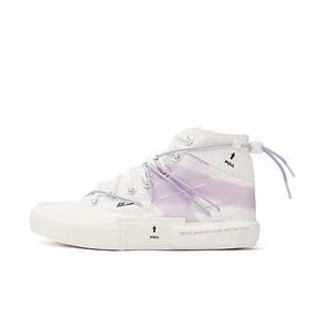 Warrior/回力 不规则绑带高帮休闲帆布鞋 白紫