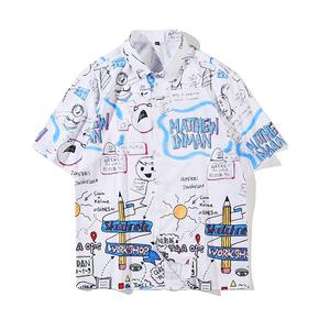 JOESPIRIT  欧美复古风 宽松 度假风 vintage印花 男士短袖 休闲短袖衬衣 衬衫 CE011005