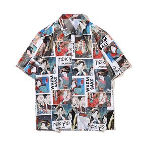 JOESPIRIT  欧美复古风 宽松 度假风 vintage印花 男士短袖 休闲短袖衬衣 衬衫 CE011007