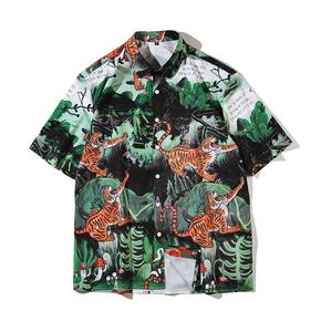 JOESPIRIT  欧美复古风 宽松 度假风 vintage印花 男士短袖 休闲短袖衬衣 衬衫 CE011009