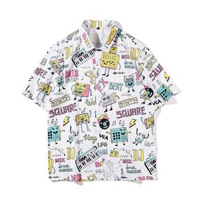 JOESPIRIT  欧美复古风 宽松 度假风 vintage印花 男士短袖 休闲短袖衬衣 衬衫 CE011014