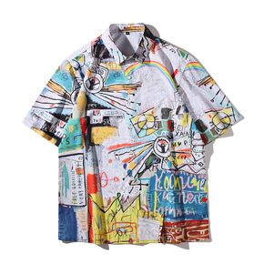 JOESPIRIT  欧美复古风 宽松 度假风 vintage印花 男士短袖 休闲短袖衬衣 衬衫 CE011019