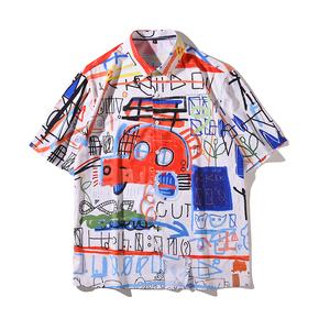 JOESPIRIT  欧美复古风 宽松 度假风 vintage印花 男士短袖 休闲短袖衬衣 衬衫 CE011020
