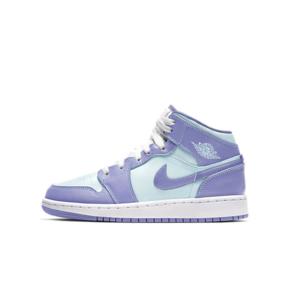 "Air Jordan 1 Mid ""Purple Glacier Blue""(GS)女款蓝绿紫 熏衣紫篮球鞋 554725-500"