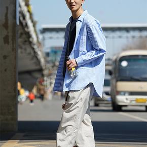 SENDAWAY A字衬衫宽松拼接纯棉口袋男士潮流日系高级感衬衣 蓝白条