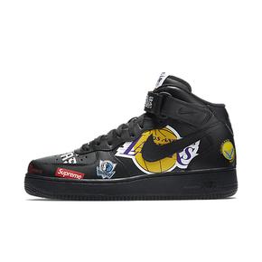 Supreme x NBA x Nike Air Force 1 AF1 联名板鞋黑色 AQ8017-001