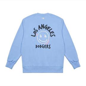 MLB  洛杉矶道奇笑脸印花图案套头卫衣 蓝色 3AMTL0514-07BLS
