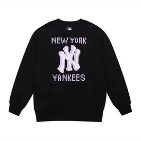 MLB 纽约洋基队 字母logo印花套头卫衣 黑紫 31MTG2111-50