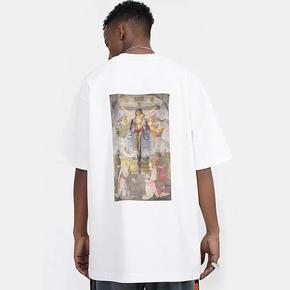 BTW宽松嘻哈纯棉国潮原创T恤情侣半袖女圣母艺术印花短袖男夏潮牌 BT355