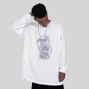 BTW春秋新款嘻哈纯棉圆领T恤潮3D石膏荆棘天使印花长袖 BT329