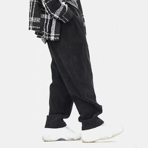BTW冬季街头嘻哈宽松直筒长裤潮牌保暖纯色简约百搭灯芯绒休闲裤 DBW018