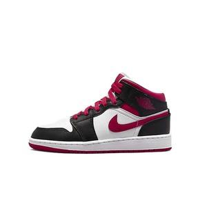 Air Jordan 1 Mid AJ1白红黑 胭脂红中帮球鞋 554725-016