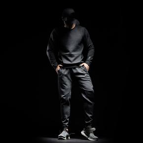 Monster Guardians 暗夜系列Viscose灰色弯刀剪裁束口运动卫裤(21)25176A A98003