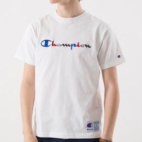 champion冠军日版草写彩色刺绣T恤短袖