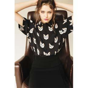 PRAGMATY 灰猫人棉短袖衬衫 426302
