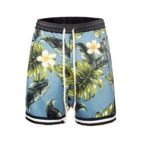 JOESPIRIT 宽松沙滩嘻哈花卉拼色抽绳 夏季短裤2031