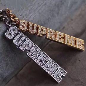 Supreme 18 ss Block Logo Keychain水钻钥匙扣