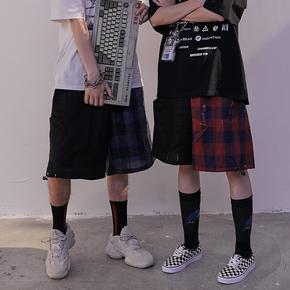 CHRROTA 夏季亚麻街舞嘻哈短裤格子宽松抽绳直筒阔腿情侣五分裤