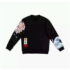 oxy 刺绣樱花海浪浮世绘 加绒卫衣